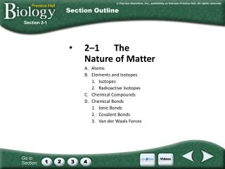 2–1	The Nature of Matter A.	Atoms B.	Elements and Isotopes 1.	Isotopes 2.	Radioactive Isotopes