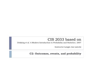 C2: Outcomes , events, and  probability