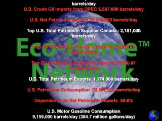 Gallons of Oil per Barrel 42   U.S. Crude Oil Production  5,178,000 barrels/day