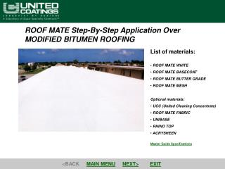 ROOF MATE Step-By-Step Application Over  MODIFIED BITUMEN ROOFING