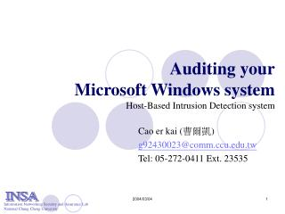 Auditing your Microsoft Windows system Host-Based Intrusion Detection system