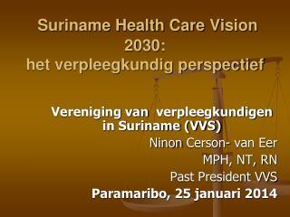Suriname Health Care  Vision  2030:  het verpleegkundig perspectief