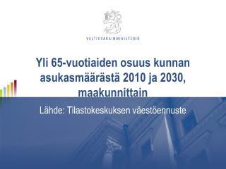 Yli 65-vuotiaiden osuus kunnan asukasm��r�st� 2010 ja 2030, maakunnittain
