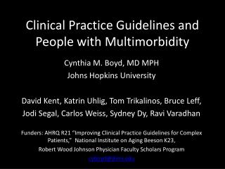 Clinical Practice Guidelines and People with Multimorbidity