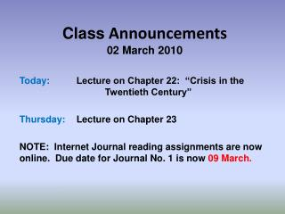 Class  Announcements 02 March 2010