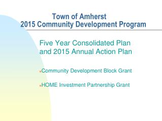 Town of Amherst 2015 Community Development Program