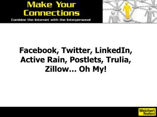 Facebook, Twitter, LinkedIn, Active Rain, Postlets, Trulia, Zillow… Oh My!