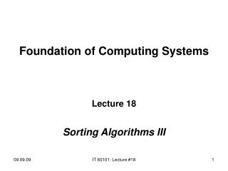 Foundation of Computing Systems