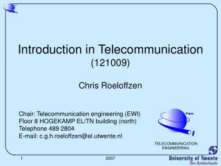 Introduction in Telecommunication (121009) Chris Roeloffzen