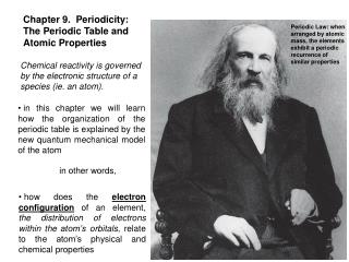Chapter 9.  Periodicity: The Periodic Table and Atomic Properties