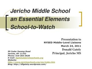 Jericho Middle School an Essential Elements School-to-Watch