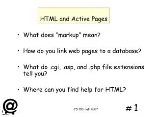 HTML and Active Pages