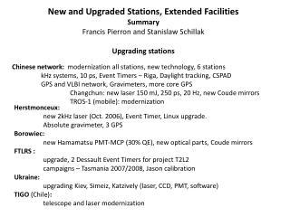 Chinese network:   modernization all stations, new technology, 6 stations