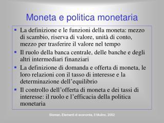 Moneta e politica monetaria