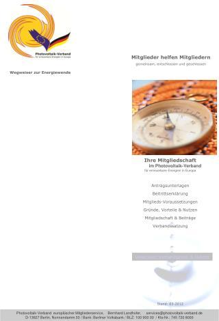 Ihre Mitgliedschaft         im Photovoltaik-Verband für erneuerbare Energien in Europa