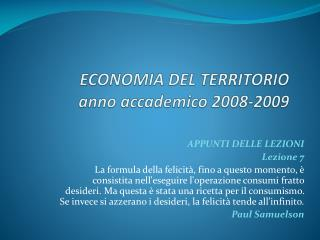 ECONOMIA DEL TERRITORIO anno accademico 2008-2009