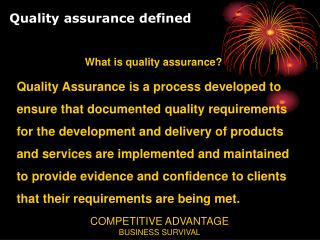 Quality assurance defined