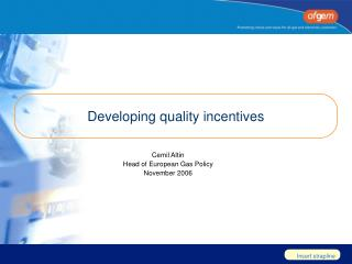 Developing quality incentives