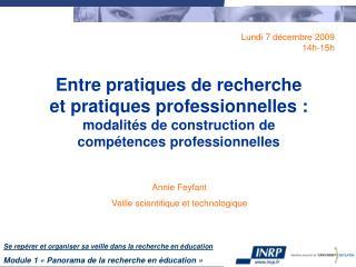 Annie Feyfant Veille scientifique et technologique