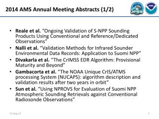 2014 AMS Annual Meeting Abstracts (1/2)