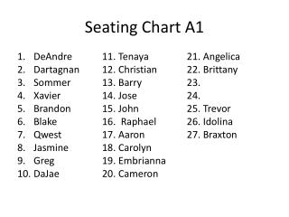 Seating Chart A1