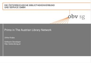 Primo in The Austrian Library Network