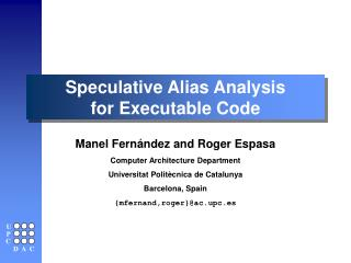 Speculative Alias Analysis for Executable Code
