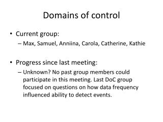 Domains of control