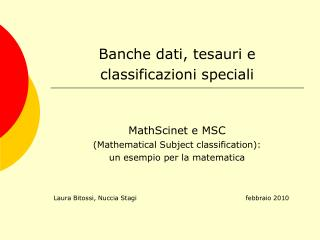 Banche dati, tesauri e classificazioni speciali