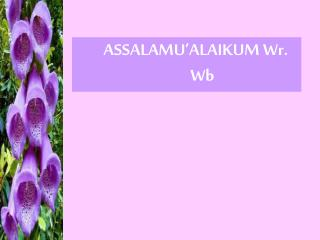 ASSALAMU'ALAIKUM Wr. Wb