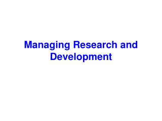 Managing Research and Development