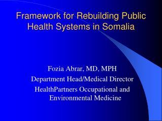 Framework for Rebuilding Public Health Systems in Somalia