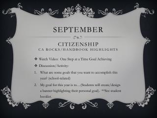 September Citizenship CA  ROCKS/Handbook Highlights