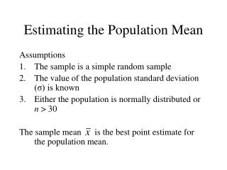 Estimating the Population Mean