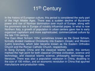 11 th  Century