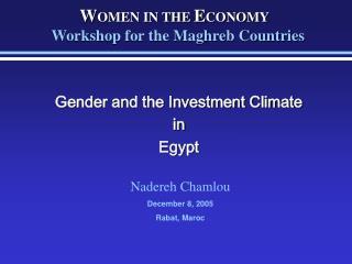Nadereh Chamlou December 8, 2005 Rabat,  Maroc