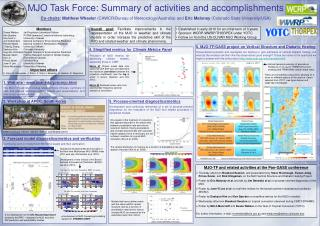 MJO Task Force: Summary of activities and accomplishments