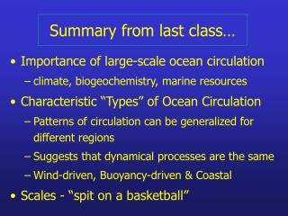 Summary from last class…