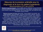 Mesures de la pression art rielle pour le diagnostic et le suivi du patient hypertendu Recommandations 2011 de la SFHTA