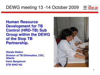 DEWG meeting 13 -14 October 2009