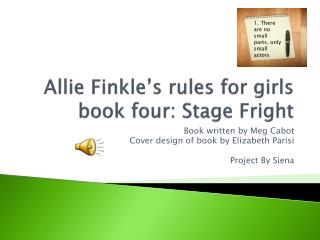 Allie Finkle�s rules for girls book four: Stage Fright