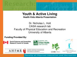 Youth & Active Living  Health Kids Alberta Presentation