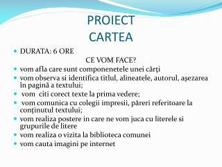 PROIECT  CARTEA