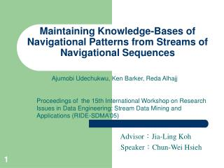 Maintaining Knowledge-Bases of Navigational Patterns from Streams of Navigational Sequences