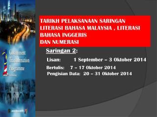 TARIKH PELAKSANAAN SARINGAN LITERASI BAHASA MALAYSIA , LITERASI BAHASA INGGERIS  DAN NUMERASI