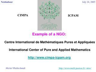 Example of a NGO:  Centre International de Mathématiques Pures et Appliquées