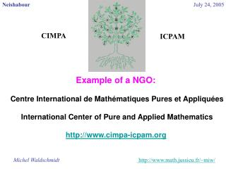 Example of a NGO:  Centre International de Math�matiques Pures et Appliqu�es