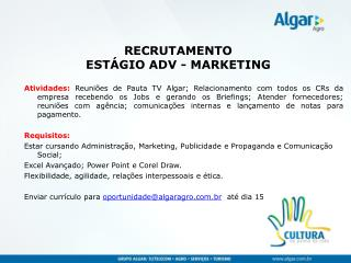 RECRUTAMENTO  ESTÁGIO ADV - MARKETING