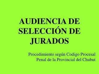 AUDIENCIA DE SELECCIÓN DE JURADOS