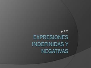 Expresiones indefinidas y negativas